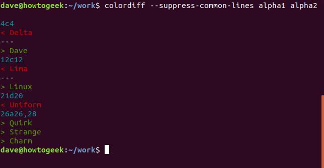Ausgabe des Befehls colordiff ohne Optionen