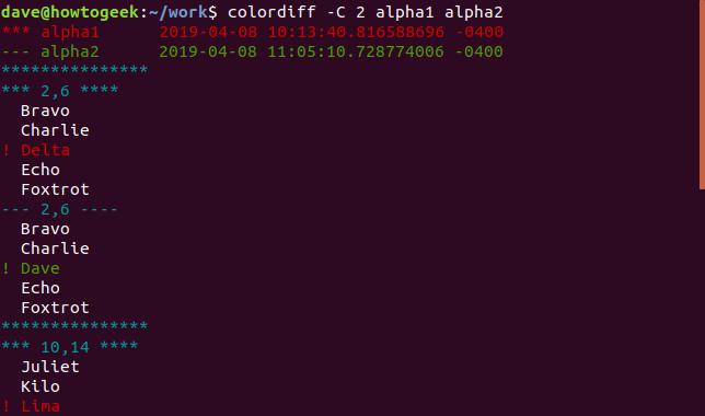 Ausgabe des Colordiffs mit der Option -C 2