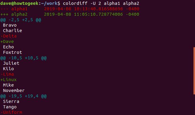 Ausgabe von colordiff mit der Option -U 2