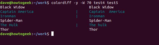 Ausgabe von colordiff auf test4- und test5-Dateien