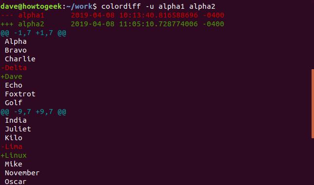 Ausgabe von colordiff mit der Option -u