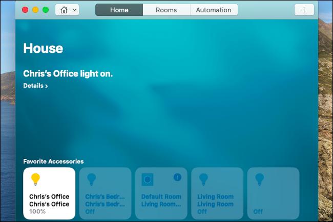 Steuern des Farbtons leuchtet in der Home-App auf einem Mac.