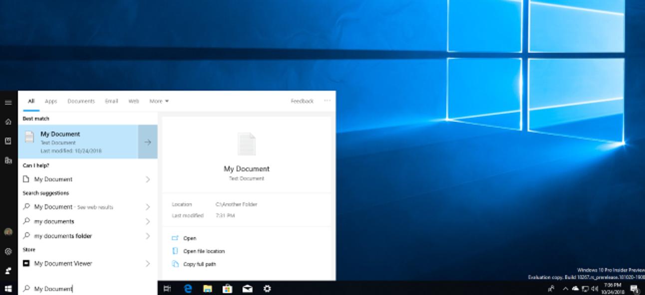 Die nächste Version von Windows 10 behebt schließlich die Suche nach Startmenüdateien