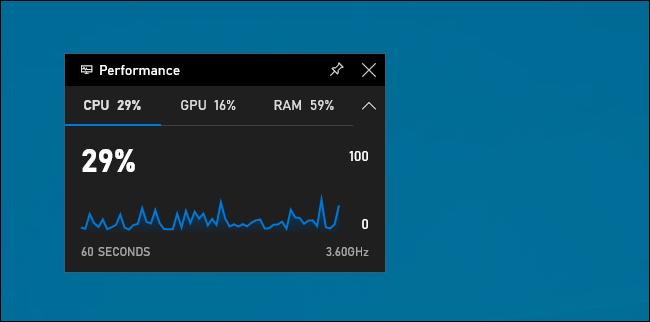 Leistungs-Widget in der Windows 10-Spielleiste