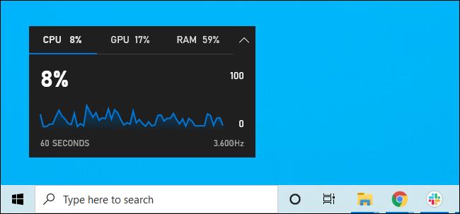 Leistungs-Widget an den Desktop angeheftet