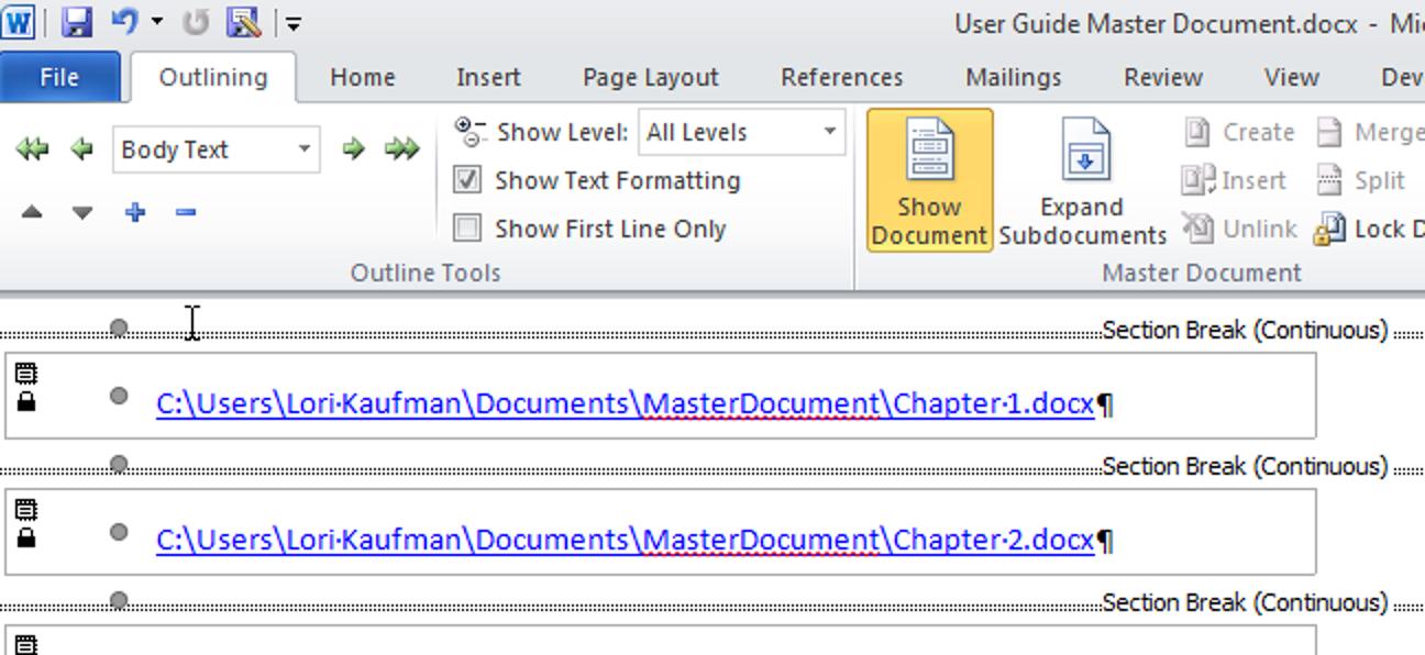 Erstellen Sie ein Masterdokument in Word 2010 aus mehreren Dokumenten