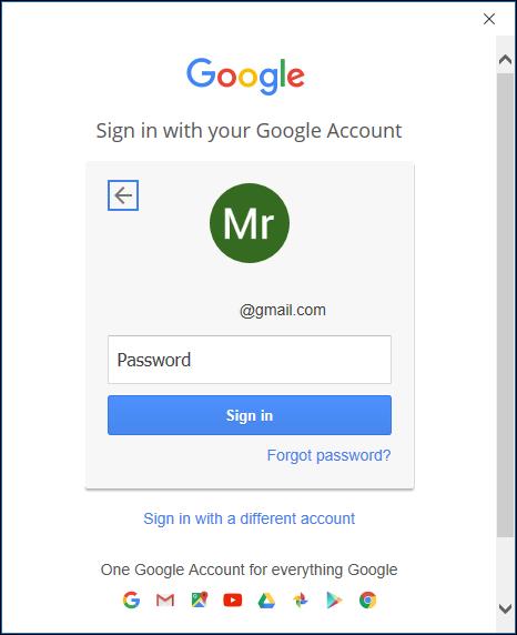 Die Google-Passwortseite.