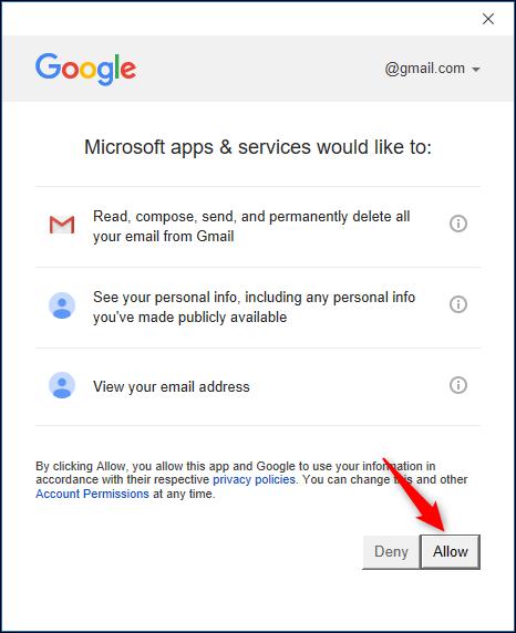 Bestätigungsseite für den Zugriff auf das Google-Konto.