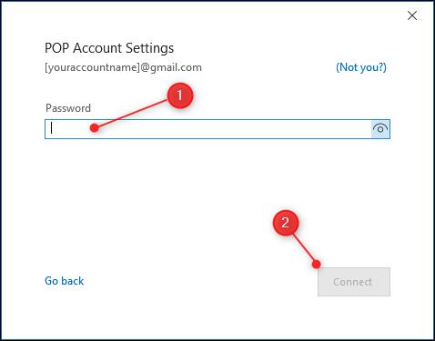Die Passwortseite für die POP-Einstellungen.