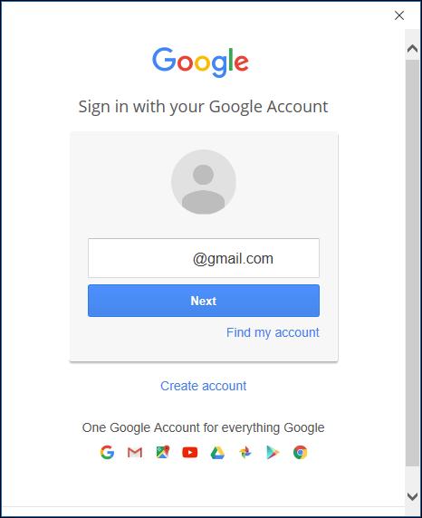 Die Google-Anmeldeseite.