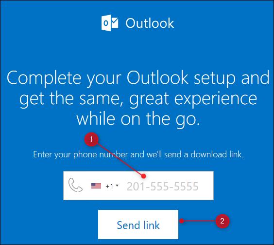 Die Outlook-Webseite, die einen Link zur mobilen Outlook-App sendet.