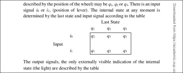 """Ein Diagramm von """"Eingang"""" und """"Letzter Status"""" aus dem Turing PDF."""