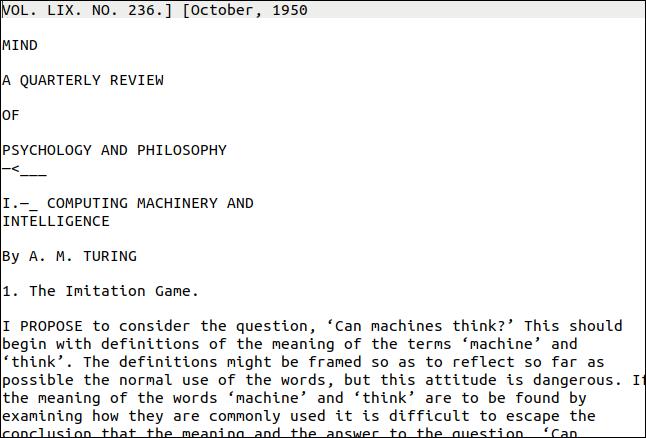 Erste Seite mit extrahiertem Text aus dem Turing PDF.