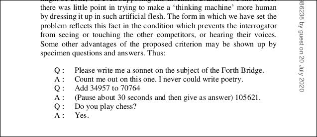 Eine Liste mit Fragen und Antworten aus dem PDF des Turing-Papiers.