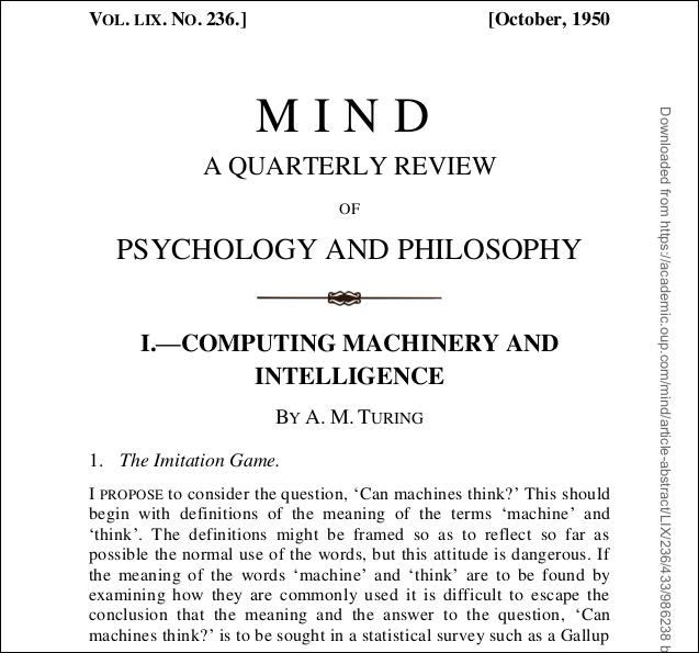 """PDF der Titelseite von """"Computermaschinen und Intelligenz"""" von AM Turing."""