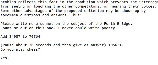 Extrahierter Text aus der Frage- und Antwortseite des Turing-PDF.