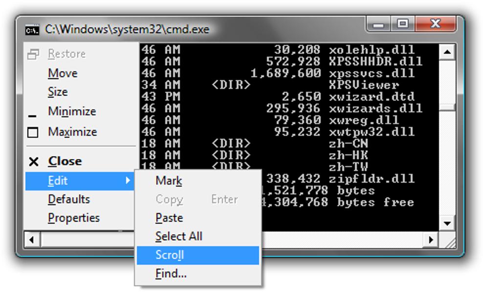 Scrollen der Windows-Eingabeaufforderung nur mit der Tastatur