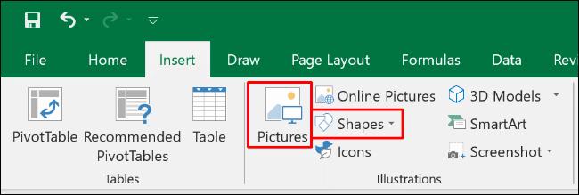 """Klicken """"Einfügen,"""" und dann auswählen """"Bilder"""" oder """"Formen."""""""