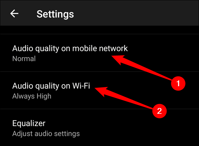 """Wählen Sie entweder die """"Audioqualität im Mobilfunknetz"""" oder """"Audioqualität über WLAN"""" Möglichkeit"""