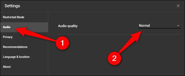 """Drücke den """"Audio"""" Klicken Sie auf die Registerkarte und wählen Sie das Dropdown-Menü Audioqualität aus"""