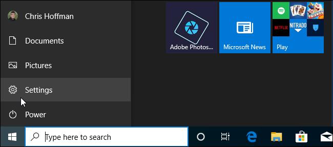 Startmenü-Navigationsleiste in Windows 10 19H2.