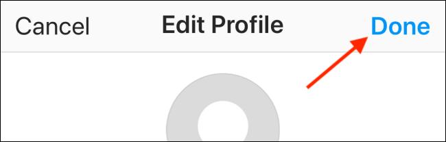 """Zapfhahn """"Getan"""" in dem """"Profil bearbeiten"""" Sektion."""