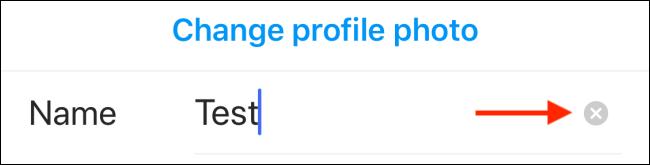 Tippen Sie auf das Symbol Löschen, um Ihren aktuellen Instagram-Anzeigenamen zu entfernen.