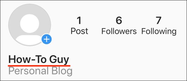 Ein Anzeigename in einem Instagram-Profil.