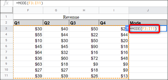Sie können in der Funktion auch Verweise auf Bereiche aus Ihrer Tabelle verwenden.