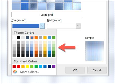 """Klicken """"Vordergrund,"""" und wählen Sie dann eine Farbe."""