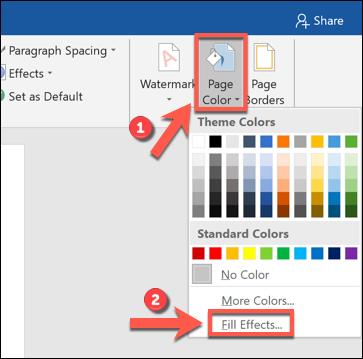 """Klicken """"Seitenfarbe,"""" und dann auswählen """"Effekte füllen."""""""