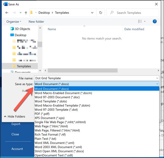 """Wählen """"Word-Dokument (* .docx)"""" um Ihre Datei als Word-Dokument zu speichern."""