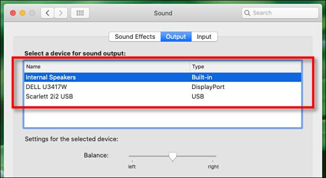 Wählen Sie unter Audioeinstellungen auf dem Mac ein Audioausgabegerät aus