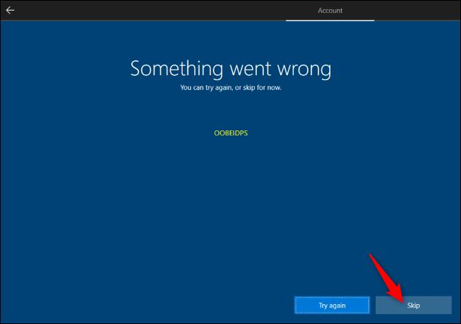 Überspringen der Microsoft-Kontoerstellung während des Windows 10-Setups.