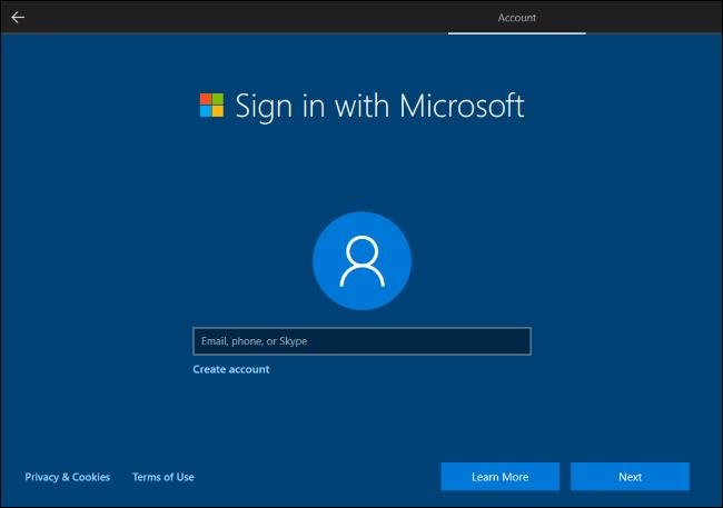 Windows 10 erfordert ein Microsoft-Konto, um fortzufahren.