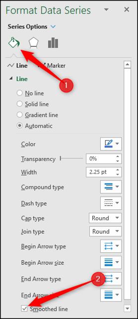 Formatieren Sie eine Datenreihe als geglättete Linie