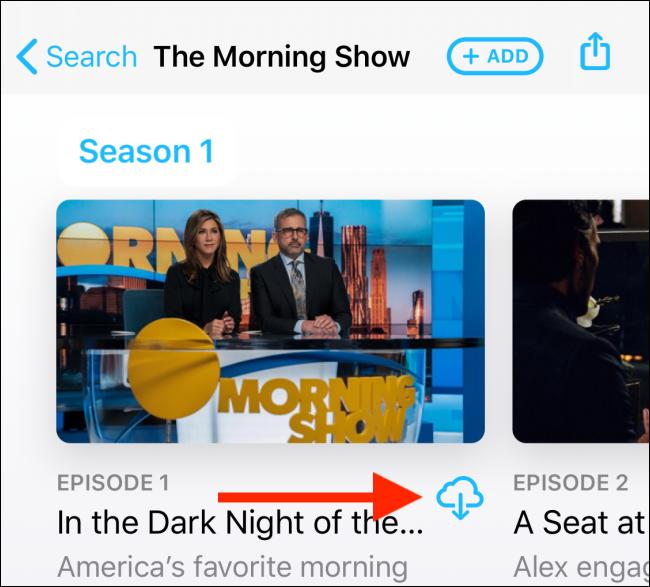 Tippen Sie auf der Seite der Show auf den Download-Button