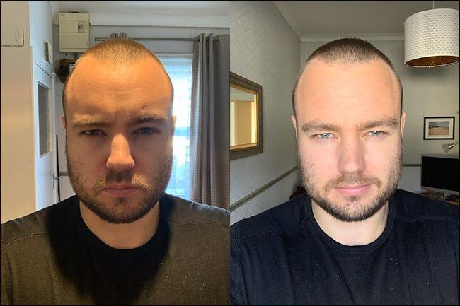 Zwei Porträts des Autors: eines in natürlichem Licht aus einem Fenster und das andere in Überkopflicht.