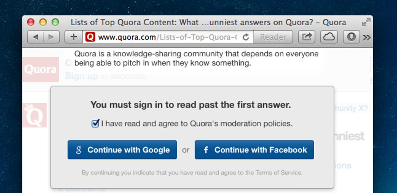 So sehen Sie alle Antworten auf Quora und umgehen ihre abscheuliche Anmeldung