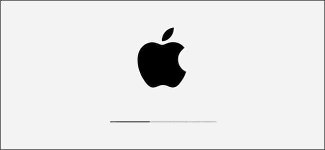 Das Apple-Logo und der Installationsfortschrittsbalken in iPadOS.