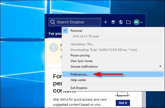 Klicken Sie in Dropbox für Windows auf Einstellungen