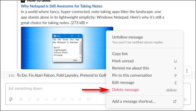 Klicken Sie auf Nachricht löschen, um eine Nachricht in Slack für sich selbst zu löschen