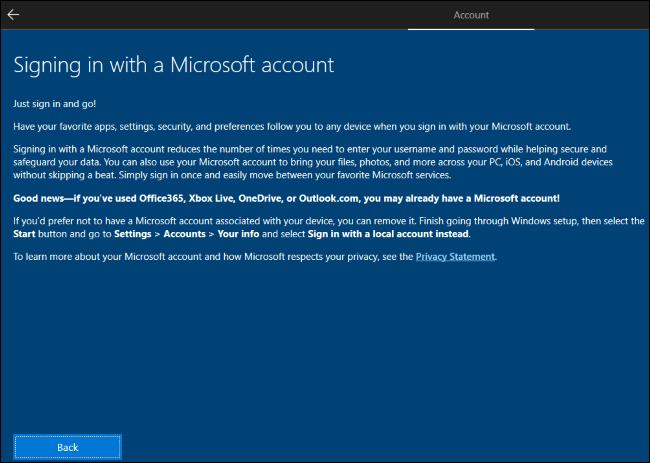 Windows 10 erklärt, dass Sie ein Microsoft-Konto erstellen und es dann entfernen sollten.