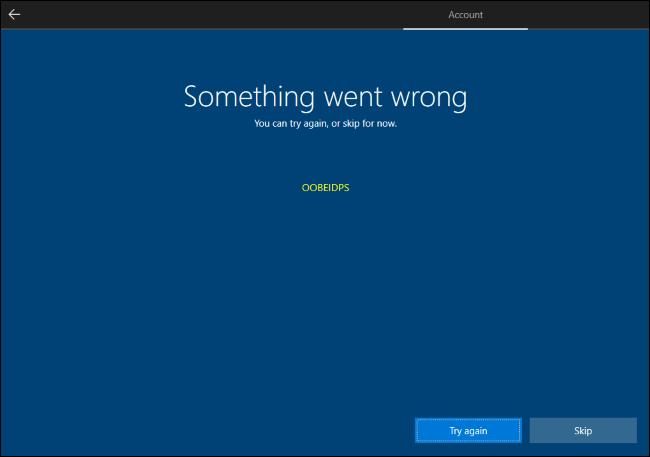 Überspringen der Microsoft-Kontoerstellung in Windows 10.