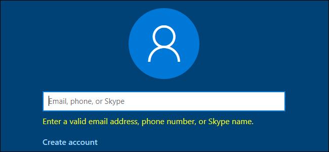 Windows 10 fordert eine gültige E-Mail-Adresse, Telefonnummer oder einen gültigen Skype-Namen an.