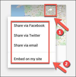 Die Social-Sharing-Optionen für eine benutzerdefinierte Google Maps-Karte