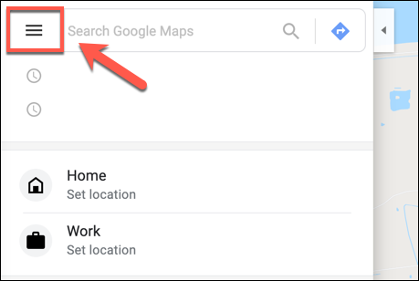 Klicken Sie in Google Maps auf das Hamburger-Menüsymbol