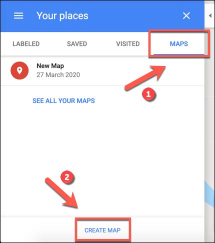 Klicken Sie auf Karte erstellen, um eine benutzerdefinierte Google Maps-Karte zu erstellen