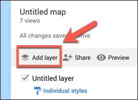 Klicken Sie auf Ebene hinzufügen, um einer benutzerdefinierten Google Maps-Karte eine benutzerdefinierte Ebene hinzuzufügen