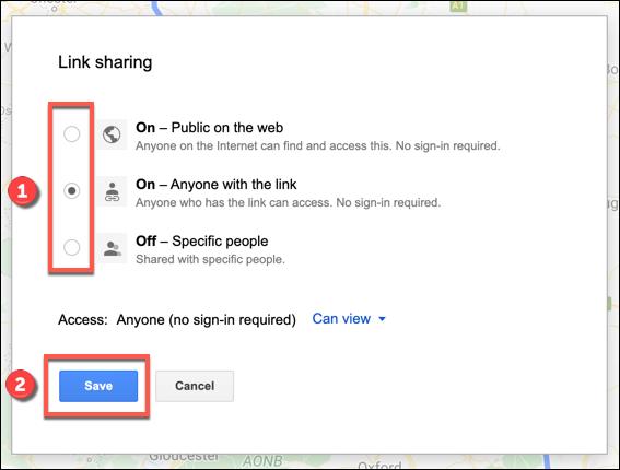 Die Linkfreigabeoptionen für eine benutzerdefinierte Google Maps-Karte